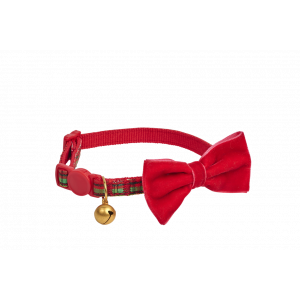 I251917-Joy Love Hope Plaid Bow Adjustable Cat Collar Red