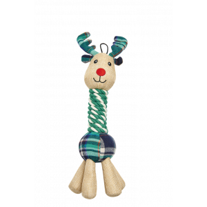 I251918-Joy Love Hope Reindeer Rope Neck Dog Toy Green 38cm
