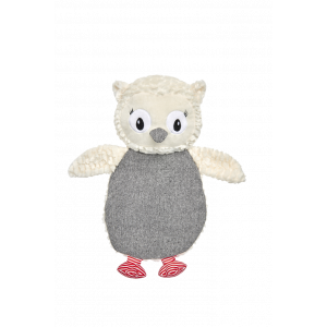 I251920-Harmony Owl Crinkle Flattie Dog Toy Grey White 26cm