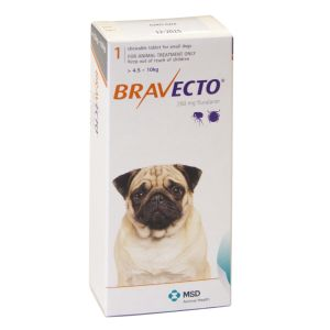 I246549-Bravecto Chewable Tablet Flea Treatment For Small Dogs 4.5 To 10kg - 1 Pack