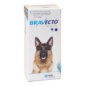 I246744-Bravecto Chewable Tablet Flea Treatment For Large Dogs 20 To 40kg - 1 Pack