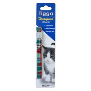 I251999-Tigga Cat Collar Textile Light Green 10x200-330mm