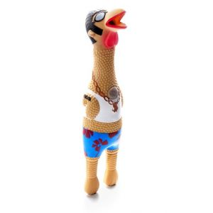 I249303-Charming Earl Chicken Latex Squeaky Dog Toy Small