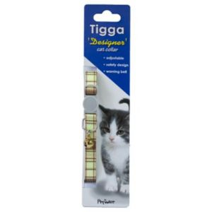 I251998-Tigga Cat Collar Textile Green 10x200-330mm