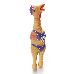 I249305-Charming Henrietta Chicken Latex Squeaky Dog Toy Small