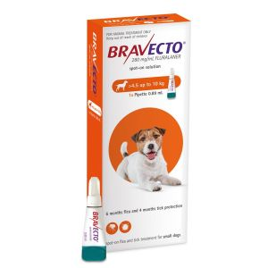 I246866-Bravecto Spot On Flea Treatment For Small Dogs 4.5-10kg - Orange 1 Pack