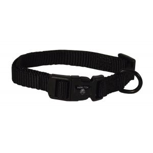 I248445-Hamilton Dog Collar Adjustable Black 18-30cm