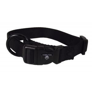 I248459-Hamilton Dog Collar Adjustable Black 40-55cm