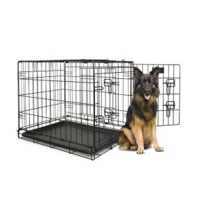 I160190-Yours Droolly Double Door Dog Crate 48 Inch 122lx76wx81