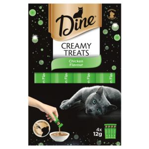 I239096-Dine Creamy Treats Chicken Cat Treat 12g - 4 Pack