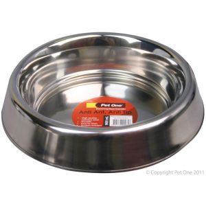I241318-Pet One Stainless Steel Anti Ant Dog Bowl 900ml