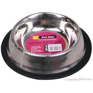 I241453-Pet One Stainless Steel Anti Skid Cat Bowl 250ml