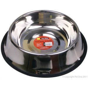 I241461-Pet One Stainless Steel Anti Skid Dog Bowl 1.6l