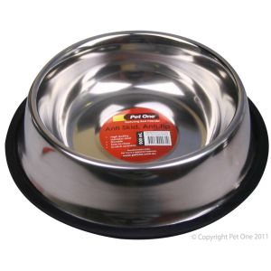 I241464-Pet One Stainless Steel Anti Skid Dog Bowl 900ml