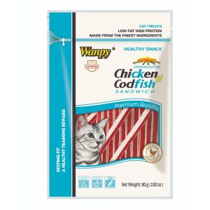 I249225-Wanpy Chicken & Codfish Sandwhich Cat Treats 80g