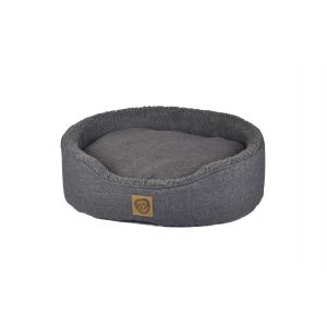 I249283-You & Me Sherpa Oval Grey Dog Bed Extra Large 64x54x18cm