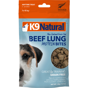 I250536-K9 Natural Nz Beef Lung Protein Bites Dog Treats 50g