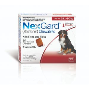 I240956-Nexgard Chewable Tablet Flea & Tick Treatment For Lge Dogs 25-50kg - 1 Pack