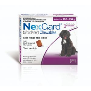 I168279-Nexgard Chewable Tablet Flea & Tick Treatment For Med Dogs 10-25kg - 1 Pack
