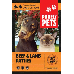 I246597-Purely Pets Frozen Beef & Lamb Patties Dog Food 1kg