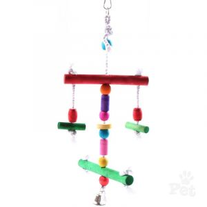 I150634-Avi One Coloured Round Rope & Wood Bird Toy