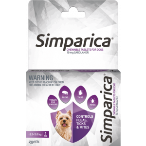 I246875-Simparica Flea Treatment For Dogs 2.5kg - 5kg - Purple 1 Pack