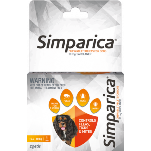 I246876-Simparica Flea Treatment For Dogs 5kg - 10kg - Orange 1 Pack