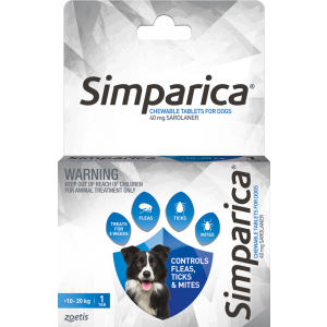 I246874-Simparica Flea Treatment For Dogs 10kg - 20kg - Blue 1 Pack