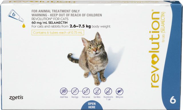Revolution Flea Treatment For Cats 2 6 7 5kg 6 Pack