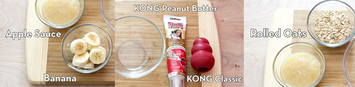 Images of kong toys and recipe for oatmeal cookie dough