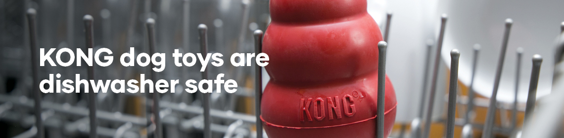 KONGs are dishwasher safe. Image of KONG in front load dishwasher