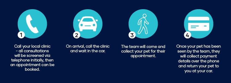 1. Call your local clinic - all consultations will be screened via telephone initially, then an appointment can be booked. 2. On arrival, call the clinic and wait in the car. 3. The team will come and collect your pet for their appointment. 4. Once your pet has been seen by the team, they will collect payment details over the phone and return your pet to you at your car.