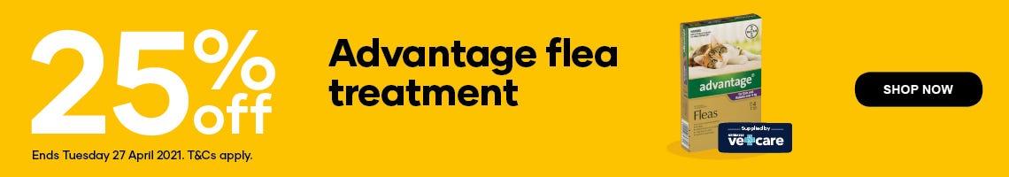 25% off Advantage flea treatment. Shop Now. Ends Tuesday 27 April 2021. T&Cs apply.